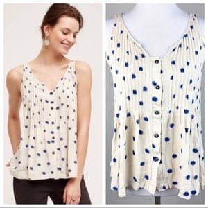 Anthropologie Maeve Saona Swing Tank In Blue Dot 6